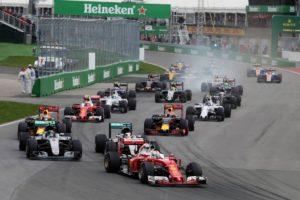 Sebastian Vettel (GER) Ferrari SF16-H leads at the start of the race.