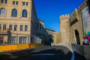 Baku city circuit at turn 10 with the castle.