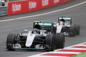 Nico Rosberg (GER) Mercedes AMG F1 W07 Hybrid leads team mate Lewis Hamilton (GBR) Mercedes AMG F1 W07 Hybrid.