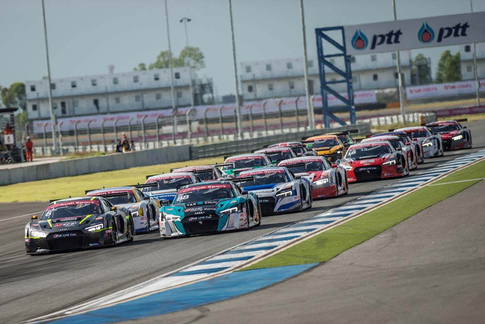 Start of race 1 at Audi R8 LMS Cup, Rd3 and Rd4, Buriram International, Circuit, Buriram, Thailand, 22-24 July 2016.