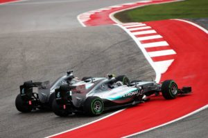 (L to R): Lewis Hamilton (GBR) Mercedes AMG F1 W06 and team mate Nico Rosberg (GER) Mercedes AMG F1 W06 battle for position at the start of the race.