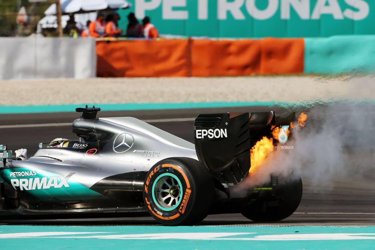 Lewis Hamilton retired from the race with a blown engine.