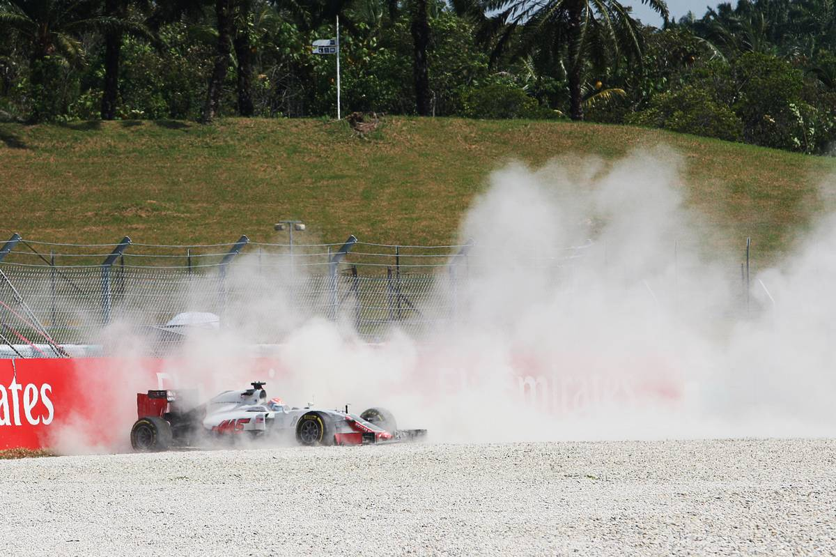 Romain Grosjean (FRA) Haas F1 Team VF-16 crashed out of the race.
