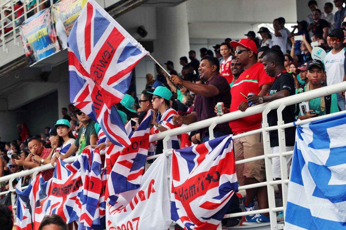 Fans in the grandstand.
