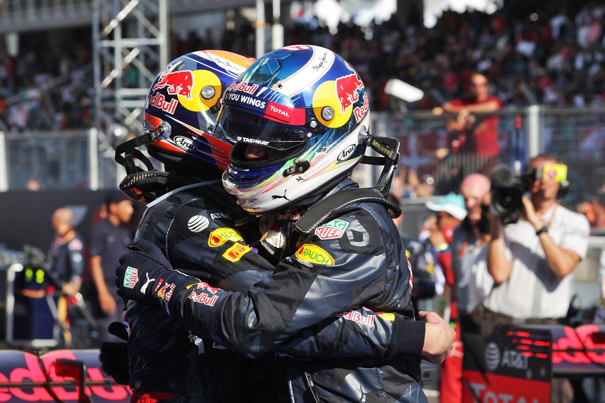 Race winner Daniel Ricciardo (AUS) Red Bull Racing (Right) celebrates with his second placed team mate Max Verstappen (NLD) Red Bull Racing in parc ferme.