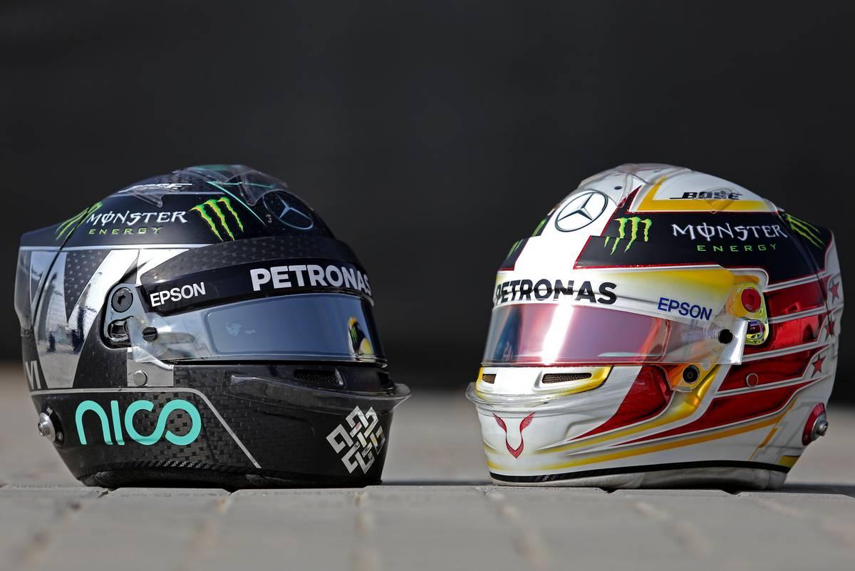 Helmet of Nico Rosberg (GER) Mercedes AMG F1  and helmet of Lewis Hamilton (GBR) Mercedes AMG F1