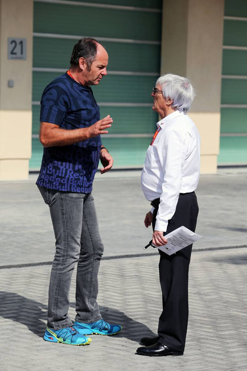 (L to R): Gerhard Berger (AUT) with Bernie Ecclestone (GBR).