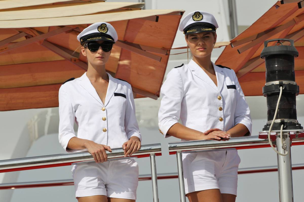 Female crew on a boat.