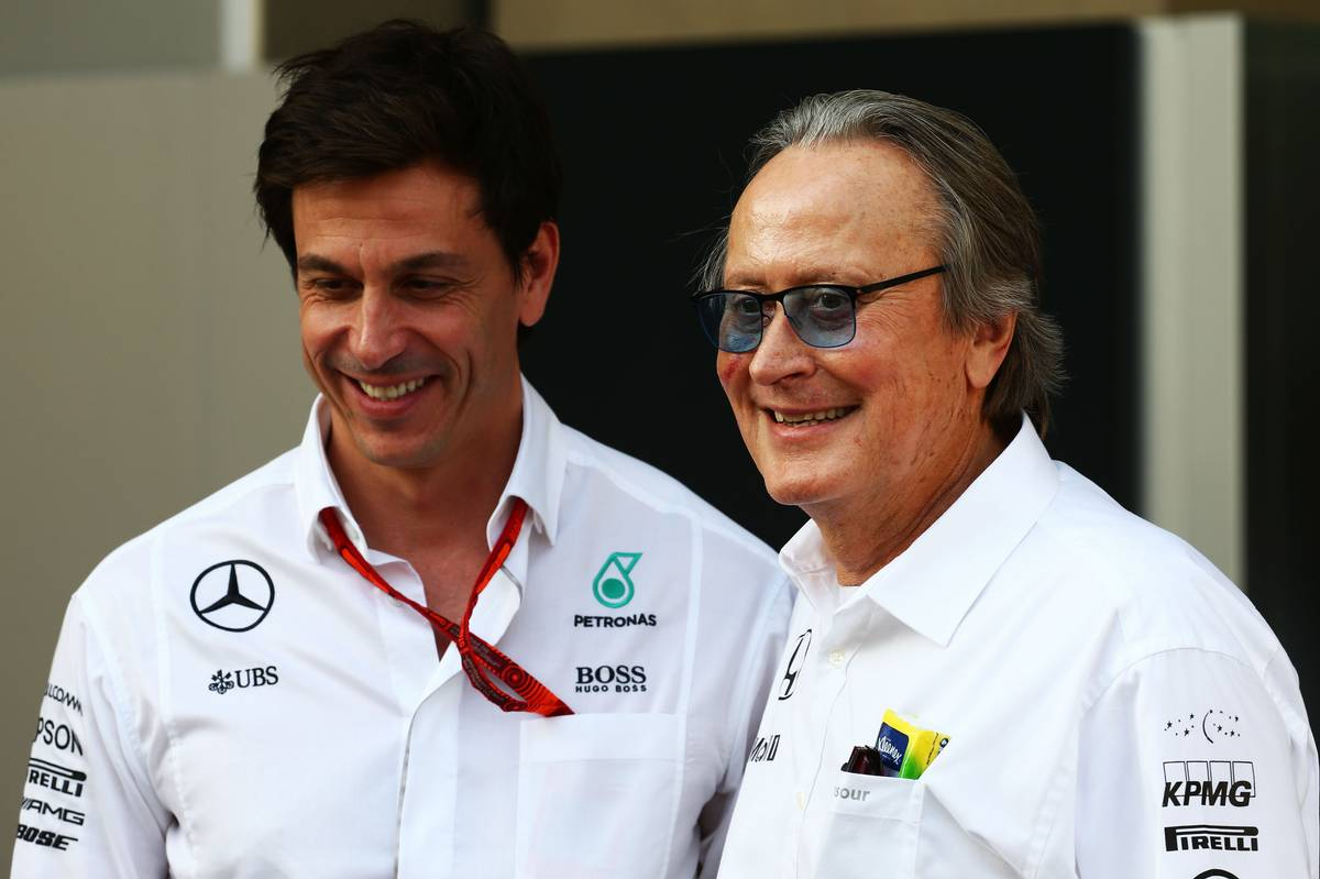 (L to R): Toto Wolff (GER) Mercedes AMG F1 Shareholder and Executive Director with Mansour Ojjeh, McLaren shareholder.