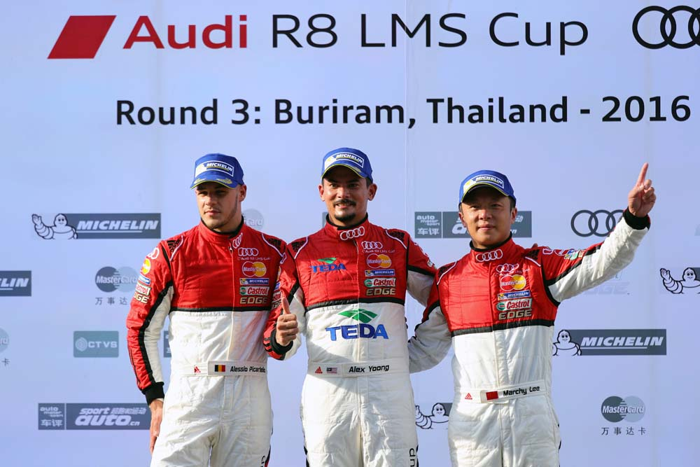 Alessio Picariello (BEL) MGT Team by Absolute, Alex Yoong (MAL) Audi TEDA Racing Team and Marchy Lee (HKG) Audi Hong Kong celebrate on the podium  at Audi R8 LMS Cup, Rd3 and Rd4, Buriram International, Circuit, Buriram, Thailand, 22-24 July 2016.