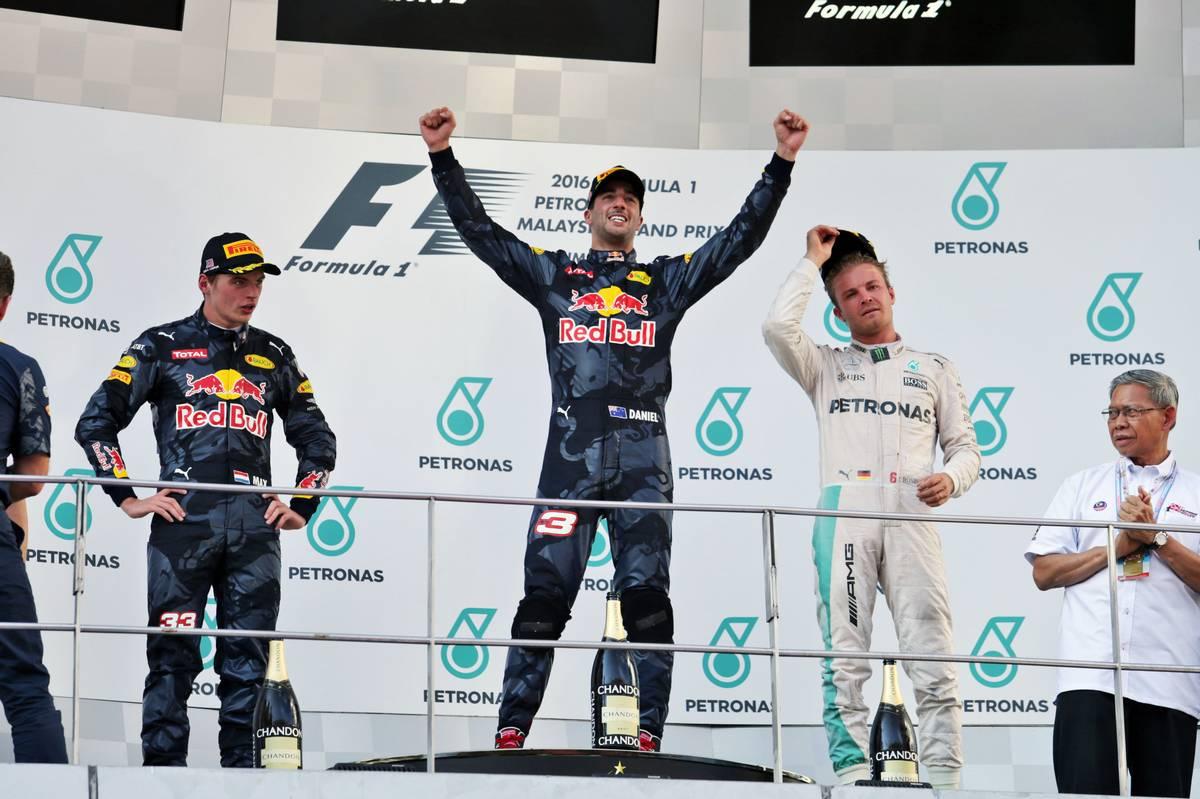 The podium (L to R): Max Verstappen (NLD) Red Bull Racing, second; Daniel Ricciardo (AUS) Red Bull Racing, race winner; Nico Rosberg (GER) Mercedes AMG F1, third.