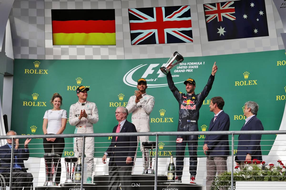 The podium (L to R): Victoria Vowles (GBR) Mercedes AMG F1 Partner Services Director; Nico Rosberg (GER) Mercedes AMG F1, second; Lewis Hamilton (GBR) Mercedes AMG F1, race winner; Daniel Ricciardo (AUS) Red Bull Racing, third.