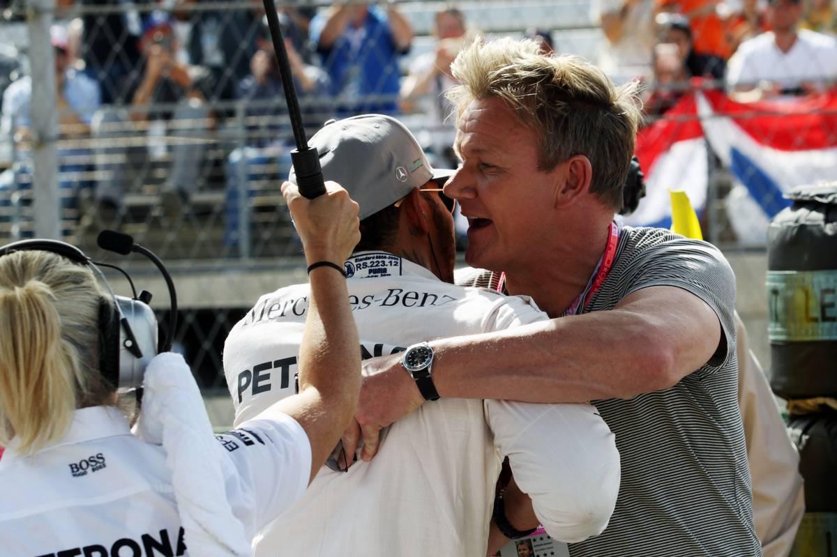 Lewis Hamilton (GBR) Mercedes AMG F1 on the grid with Gordon Ramsey (GBR) Celebrity Chef.