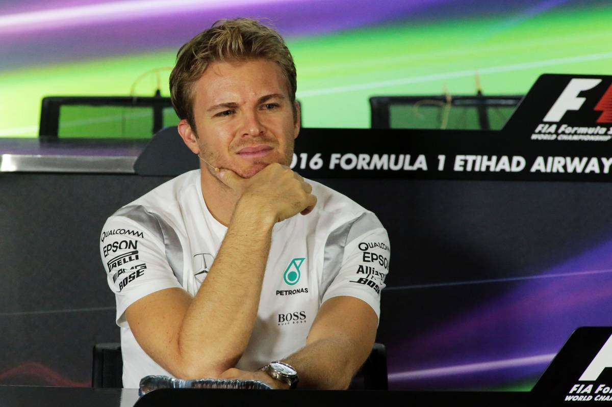 Nico Rosberg (GER) Mercedes AMG F1 in the FIA Press Conference. 24.11.2016. Formula 1 World Championship, Rd 21, Abu Dhabi Grand Prix, Yas Marina Circuit, Abu Dhabi, Preparation Day. - www.xpbimages.com, EMail: requests@xpbimages.com - copy of publication required for printed pictures. Every used picture is fee-liable. © Copyright: Photo4 / XPB Images
