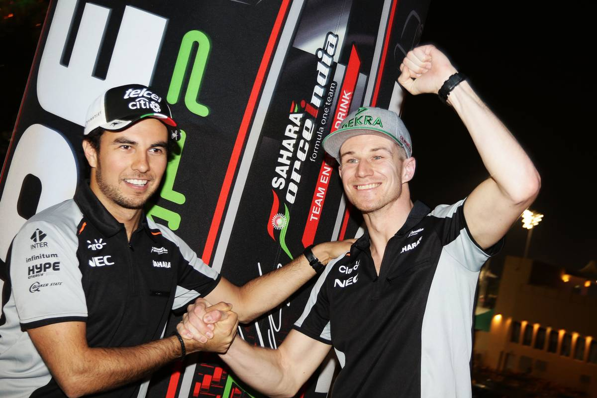 (L to R): Sergio Perez (MEX) Sahara Force India F1 and Nico Hulkenberg (GER) Sahara Force India F1 at a Hype Energy Drink event.