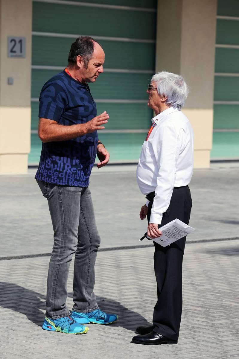 (L to R): Gerhard Berger (AUT) with Bernie Ecclestone (GBR).