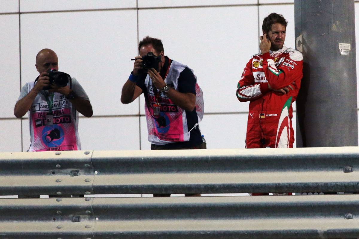 Sebastian Vettel (GER) Ferrari stopped in the second practice session.