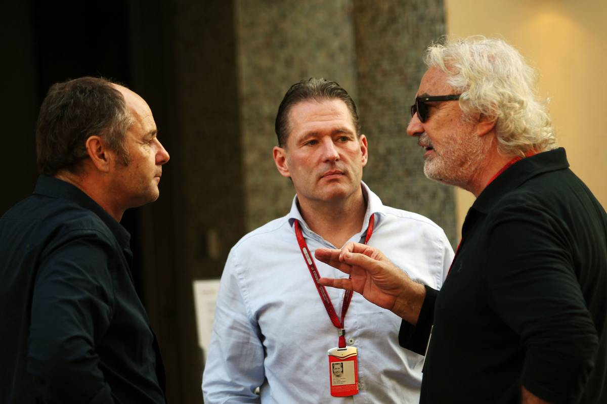 (L to R): Gerhard Berger (AUT) with Jos Verstappen (NLD) and Flavio Briatore (ITA).
