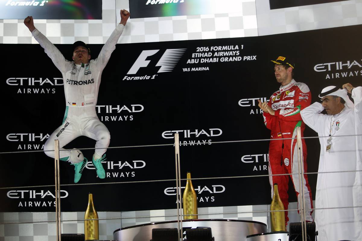 Second placed Nico Rosberg (GER) Mercedes AMG F1 celebrates his World Championship on the podium.